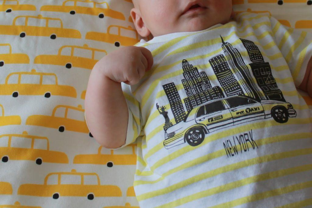 Yellow cabs New York baby blanket