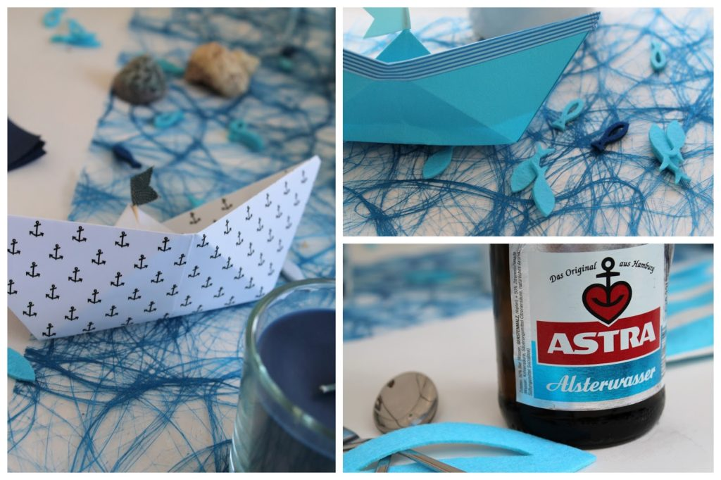Tischdeko Taufe blau tuerkis