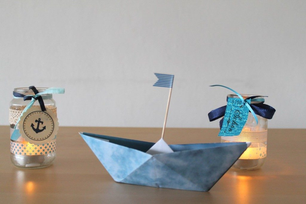 DIY Papierboot Taufe Konfirmation Tischdeko
