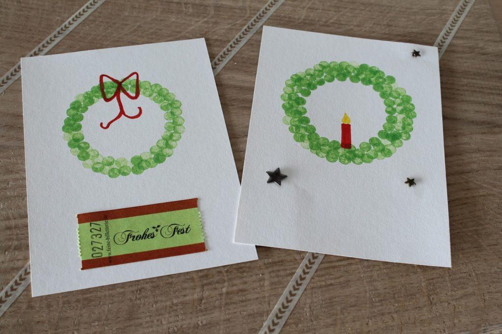 Weihnachtskarte Stempel Adventskranz Merry and be vorglitzern mit Jules kleines Freudenhaus und Frau Heuberg