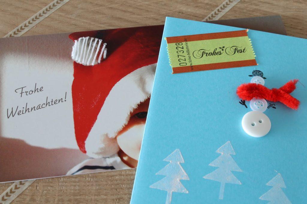 Weihnachtskarte Knoepfe Schneemann bestickte Karte Merry and be vorglitzern mit Jules kleines Freudenhaus und Frau Heuberg