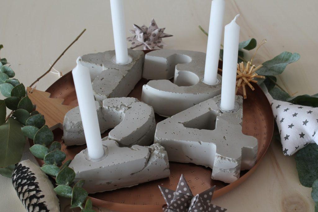 Adventskranz Beton selbermachen DIY Merry and be vorglitzern Advent