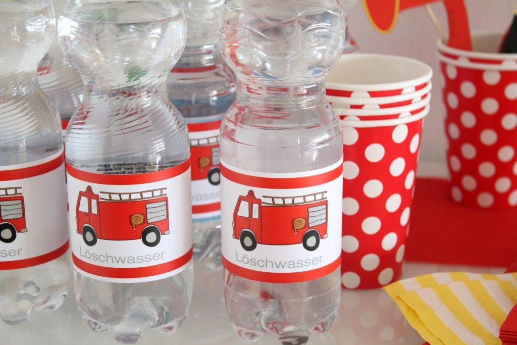 Loeschwasser Etiketten Limmaland Feuerwehr Kindergeburtstag Jules kleines Freudenhaus
