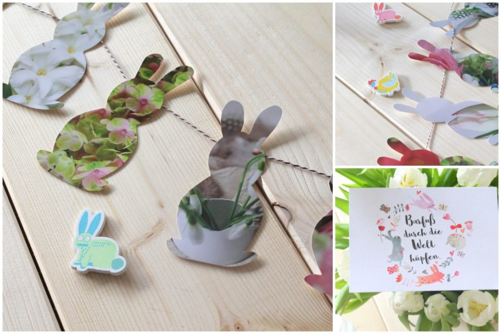 DIY Osterhasengirlande florale Bilder Fotogeschenk Ostern Jules kleines Freudenhaus