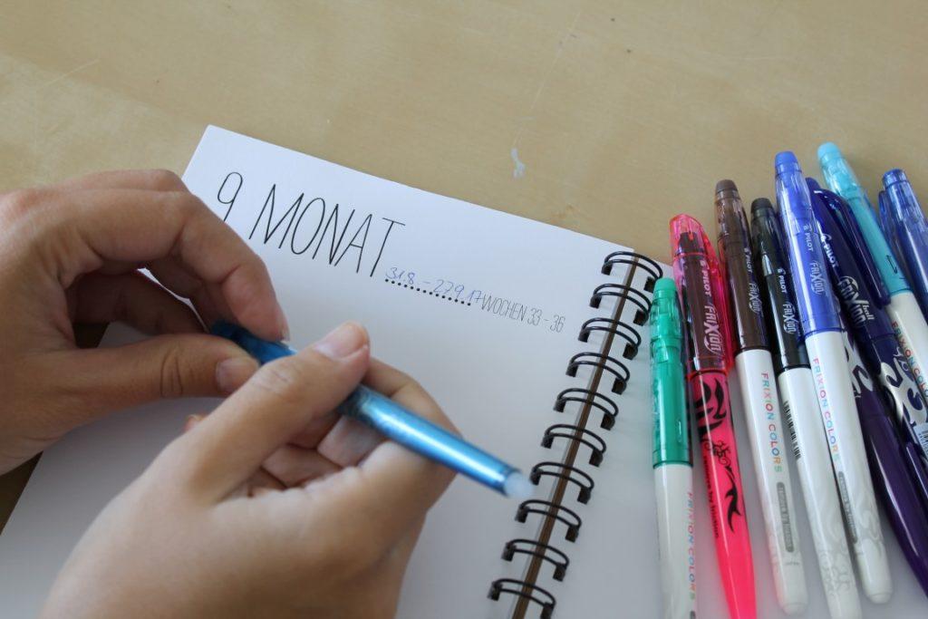 Schwangerschaftsbuch blick7 Momente festhalten mit PILOT FriXion Stiften Jules kleines Freudenhaus