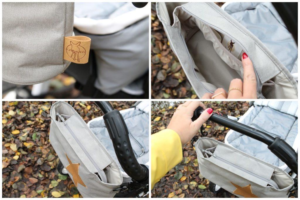 Herbstspaziergang mit Baby Waldspaziergang raus in die Natur Kinderwagen Organizer grau Stern Kork Jules kleines Freudenhaus