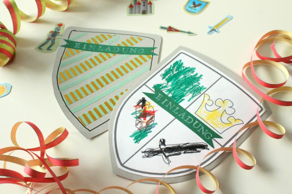 DIY Rittergeburtstag Einladungskarten Schild Wappen Kindergeburtstag 4 Jahre Jules kleines Freudenhaus