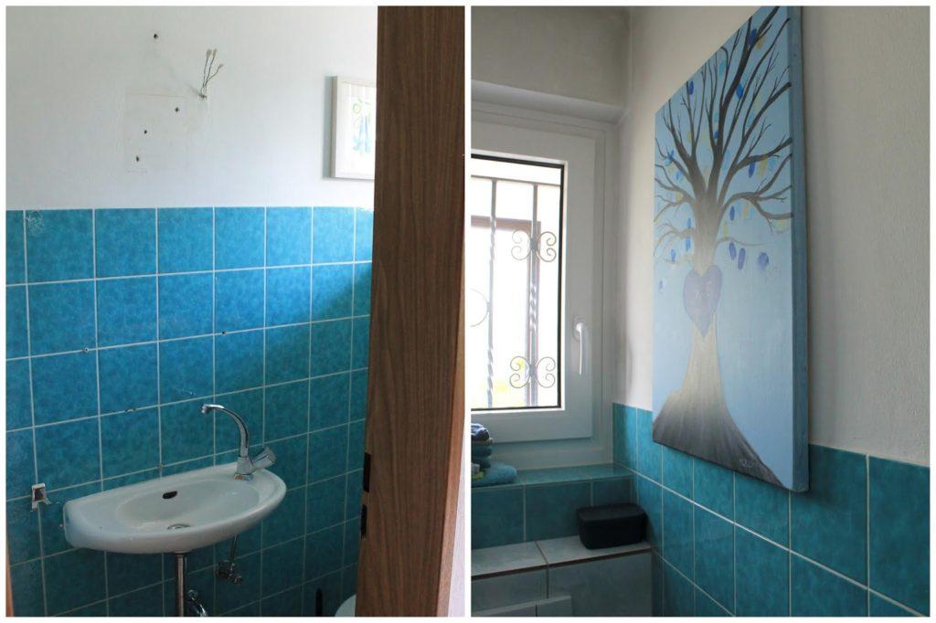 Badezimmer vorher Badezimmer Makeover mit wenig Aufwand Jules kleines Freudenhaus