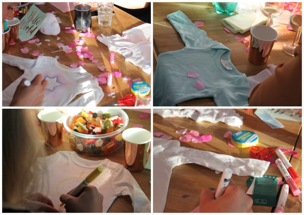 Baby Welcome Party Wolke 7 Babyshower Babyparty Bodys bemalen Jules kleines Freudenhaus