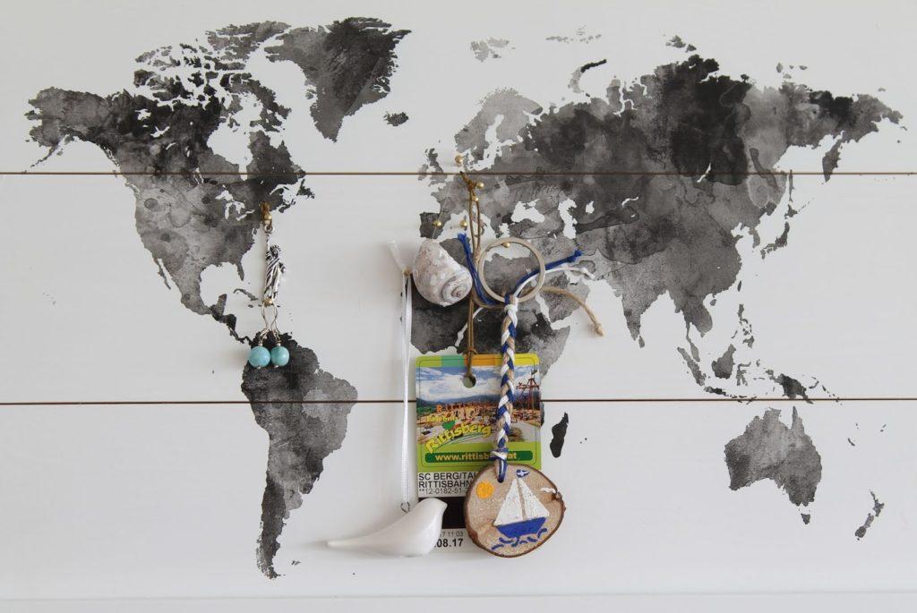 Weltkarte Travelmap mit Kinder Reise Andenken Sommererinnerung Jules kleines Freudenhaus