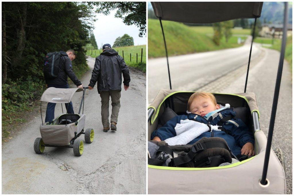 Kraxe Bollerwagen Trage Wandern mit Baby Jules kleines Freudenhaus