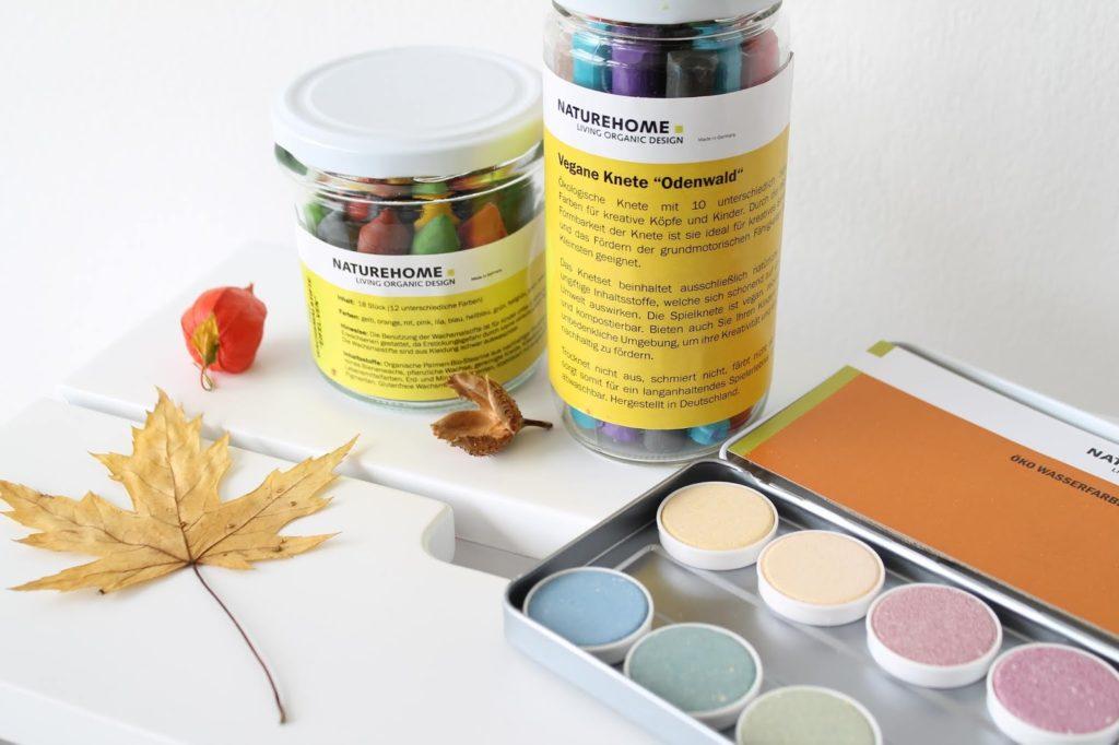 Naturfarben fuer Kinder Naturehome Wasserfarben Knete Wachsmaler Jules kleines Freudenhaus