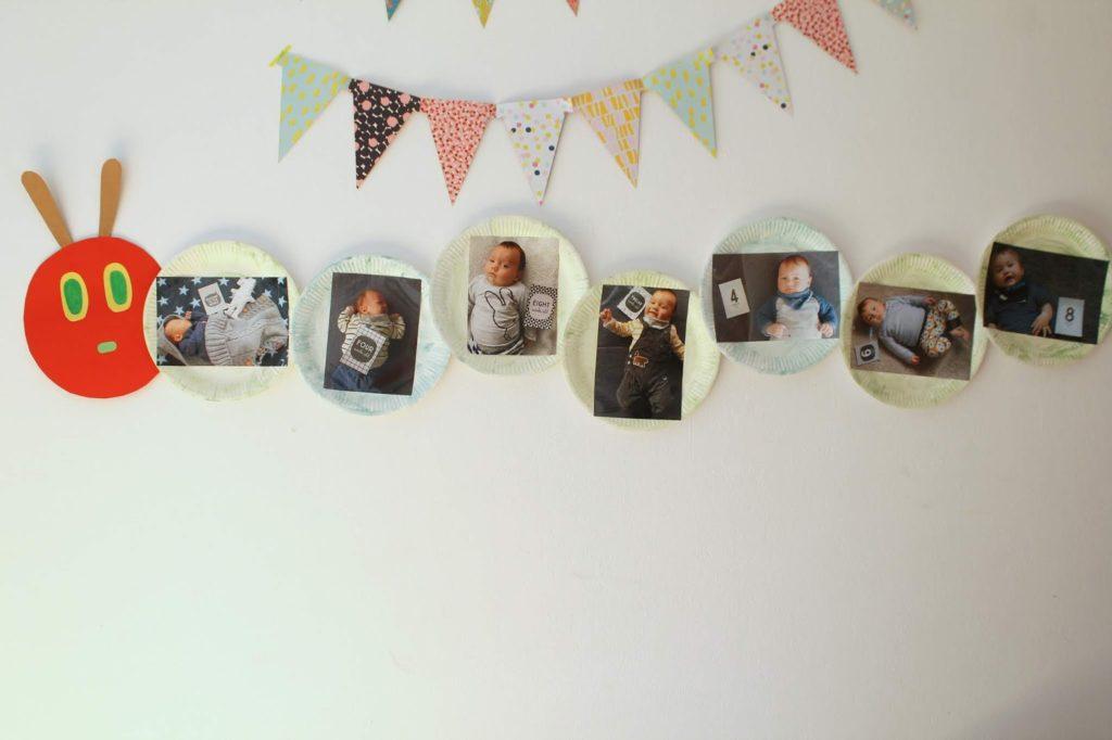 Fotogirlande Geburtstag Raupe Nimmersatt Fussabdruck Jules kleines Freudenhaus
