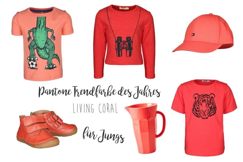 Trendfarbe Pantone Living Coral 2019 Moodboard fuer Jungs Jules kleines Freudenhaus
