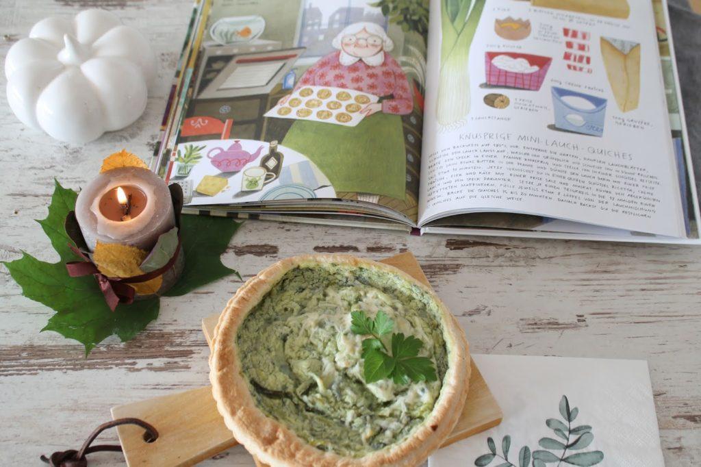 Quiche Gruener Reis und Blaubeerbrot Kinderkochbuch Jules kleines Freudenhaus