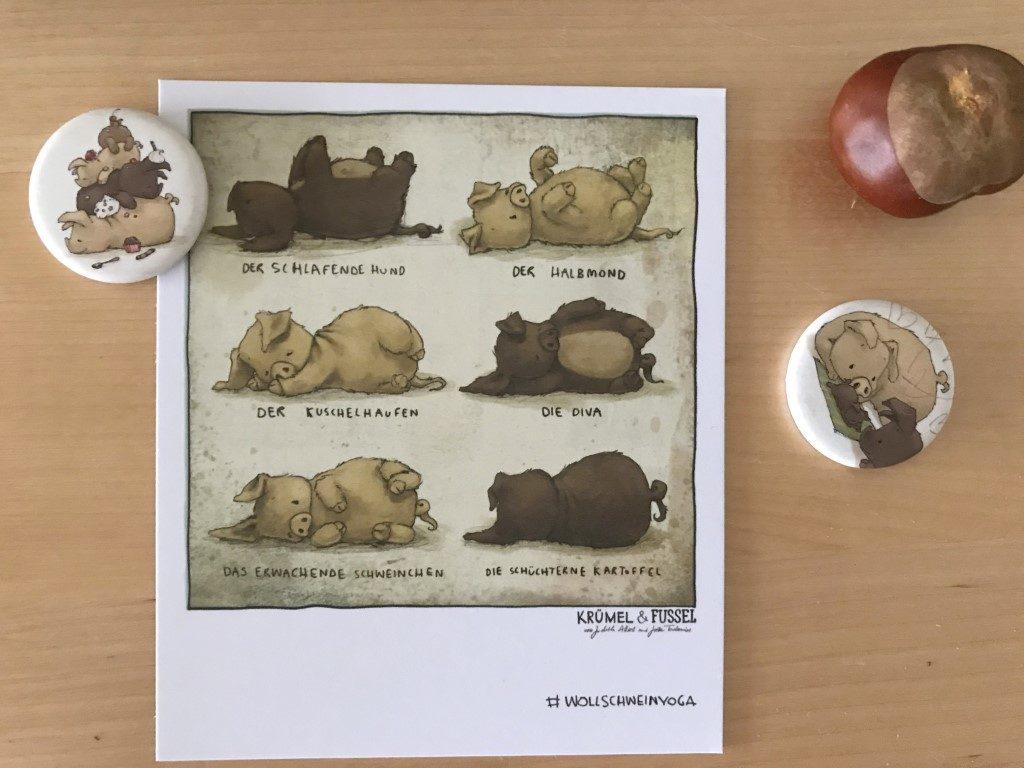 Postkarte Wollschweinyoga Buchtip