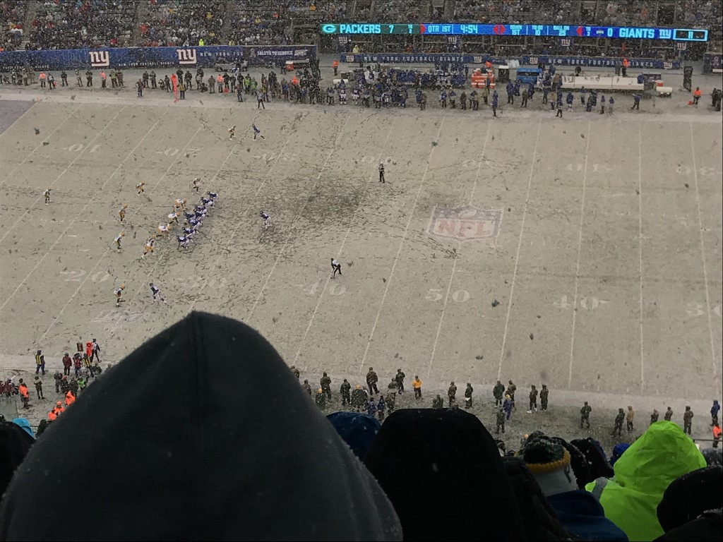 Snow at Football Match New York