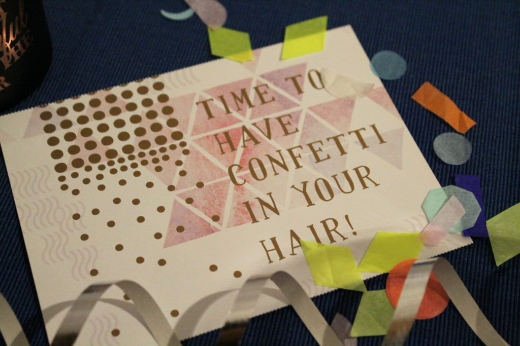onfetti in our hair Silvester