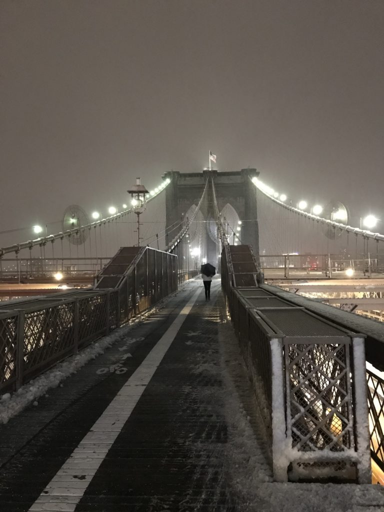 Brooklyn Bridge NYC at snow