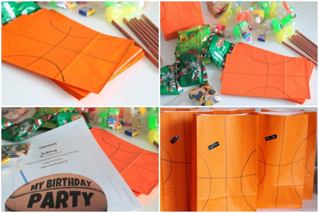 Mitgebseltueten Kindergeburtstag Basketball