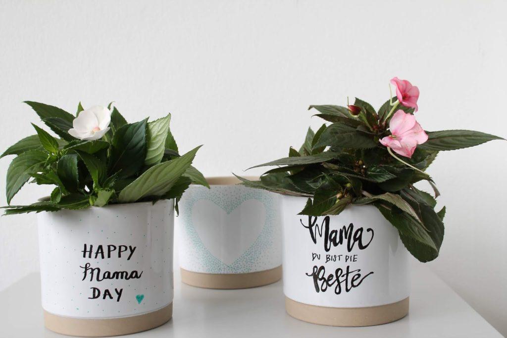 Muttertag DIY Toepfe Blumen