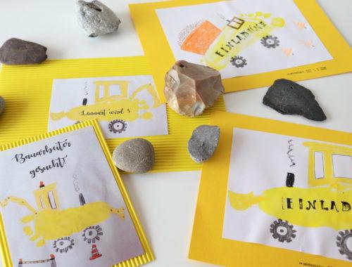 DIY Einladungen Baustellen GEburtstag
