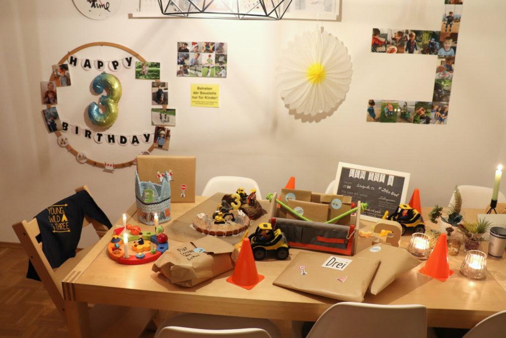 Geburtstagstisch Baustelle