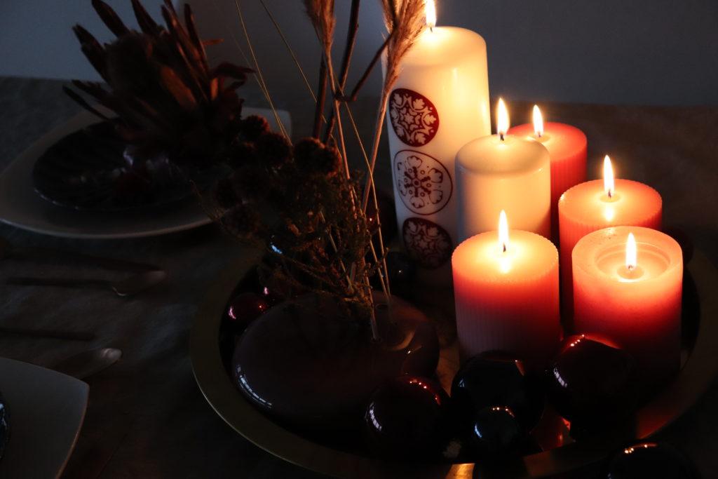 Kerzen Tischdekoartion Weihnachten